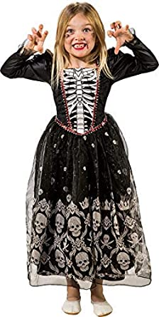 Child Girls Skeleton Princess Costume 3 Sizes Halloween Fancy Dress Party