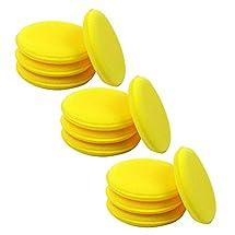12x Yellow Waxing Polish Wax Foam Sponge Applicator Pads Cars Vehicle Glass Clean