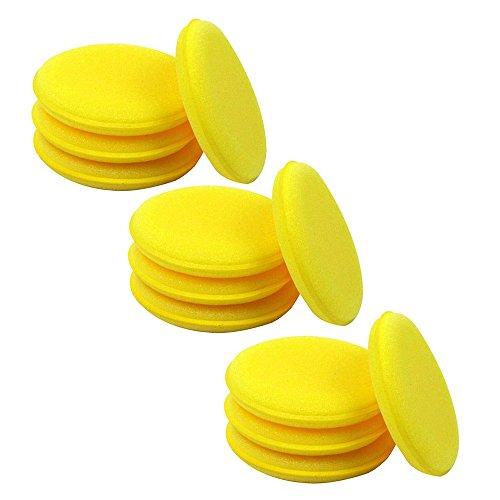 12x-yellow-waxing-polish-wax-foam-sponge-applicator-pads-cars-vehicle-glass-clean