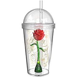 Zak Designs Beauty and the Beast 23 ounce Tumbler Mug With Enchanted Rose Inside