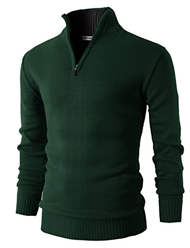 H2H Mens Casual Basic Pullover Sweater of Neck Zipper GREEN US S/Asia (Zipper Wool Sweater)