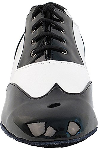 Mens Ballroom Dance Shoes Standard & Smooth Tango Wedding Salsa Shoes Black Patent & White Leather M100101EB Comfortable - Very Fine 1'' Heel 9 M US [Bundle of 5] by Very Fine Dance Shoes (Image #2)