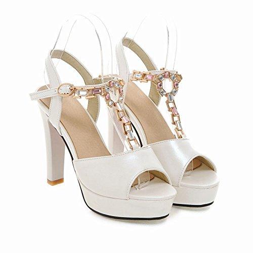 Carolbar Womens Sweet Buckle T-strap Rhinestones Bridal Peep Toe Platform Hoge Hak Jurk Sandalen Wit