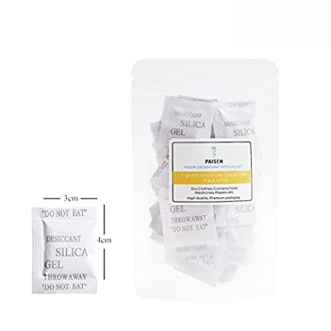 (20 packs) 1 Gram Composite Paper Drying Packets,Silica Gel Dessicant Bags, High Efficient Dehumidifier,Purewhite Moisture Gel - 20 User Lab Pack