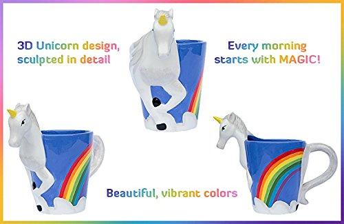 Ceramic Unicorn Coffee Mug w/ Rainbow by Comfify - Sweet & Fantastical 3D Unicorn Design w/ Magical Rainbow - Unique… 6