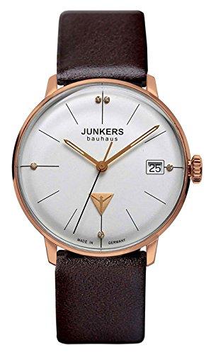 Junkers Bauhaus Lady Swiss Quartz watch 35mm R/Gold case 3ATM Silver dial 6075-1