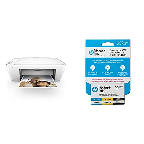 Hp Deskjet 300 - HP DeskJet 2655 All-in-One Compact Printer, Instant Ink Ready - White (V1N04A) with Instant Ink Prepaid Card for 50 100 300 Page per Month Plans (3HZ65AN)