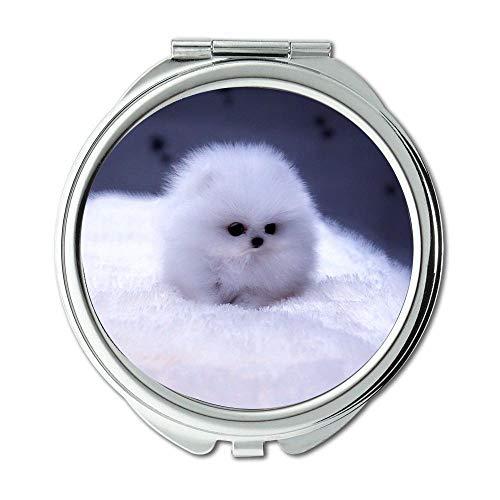 Mirror,Round Mirror,Terrier Yorkie Dog,pocket mirror,1 X 2X Magnifying