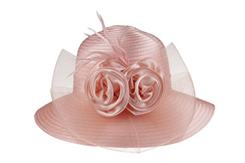 Prefe Lady's Kentucky Derby Dress Church Cloche Hat Bow Bucket Wedding Bowler Hats (Pink, One Size)