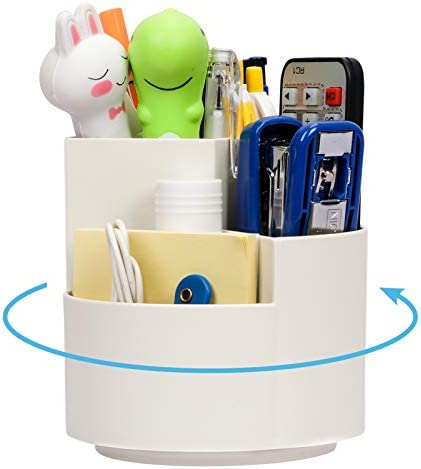 Toplive Desk Pencil Pen Holder , [360 Degree Rotating] Desk Organizers Desktop Storage Pen Organizers with 3 Compartments Stationery Supplies for Office,School,Art Supply-White