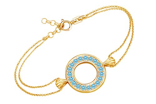 AFFY Round Shape Simulated Blue Topaz Circle Frame Link Chain Bracelets in 14k Yellow Gold Over Sterling Silver 8.5