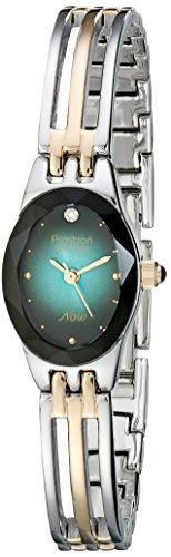 Armitron Women's 75/2641TEL Diamond-Accented Teal Dial Two-Tone Bangle Watch