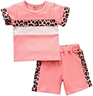 oklady Toddler Baby Girls Leopard Outfit Short Sleeve Ruffle T-Shirt Top Shorts Summer Clothes Sets