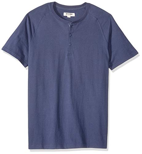Goodthreads Men's Short-Sleeve Sueded Jersey Henley, Navy, Medium Tall ()