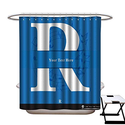 warmfamily Mildew Resistant Shower Curtain Letter R Vector Alphabet Inserted into The Paper Cut ABC Shower CurtainW69 x L70