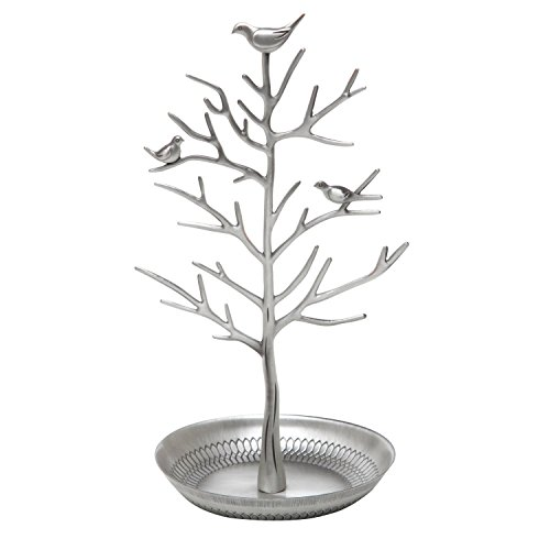 Silver Birds Tree Tabletop Jewelry Display Necklace Earring Stands Ring Bracelet Jewelry Holder Tree Organizer Rack Tower