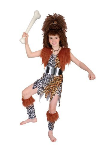 Large Girls Cavegirl Costume & Wig by Bristol Novelty