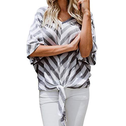 Wobuoke Womens Autumn V Neck Three Quarter Sleeve Batwing Sleeve Bandage Strippe Blouse T Shirt Tops -