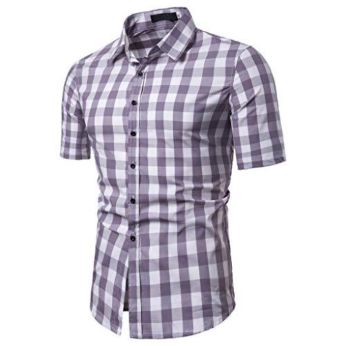 (Men's Lattice Splicing Pattern Blouse Casual Fashion Lapel Short Sleeve)