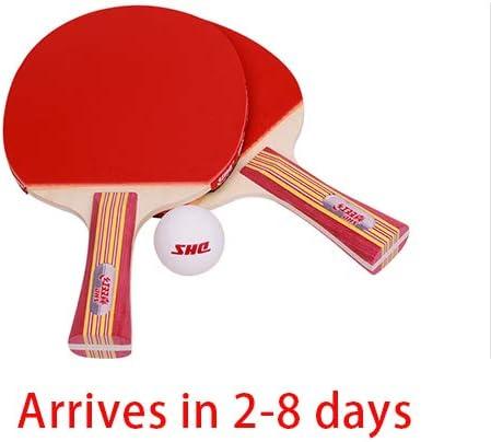 ASHTRAY Raqueta de Tenis de Mesa, Paquete de 2, Antiadherente de Doble Cara, Placa Inferior de Madera Pura, Mango cómodo, Raqueta de Tenis de Mesa de Nivel básico. Pelota de Ping-Pong 1 SSS.