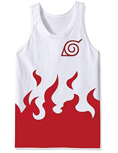 Big Mens Vintage Classy Patterned Tanks Top Solid White Red Flames Naruto Yondaime Hokage 80s Basic Tee Shirt Thin Strap Tropical Vest Singlet Jersey