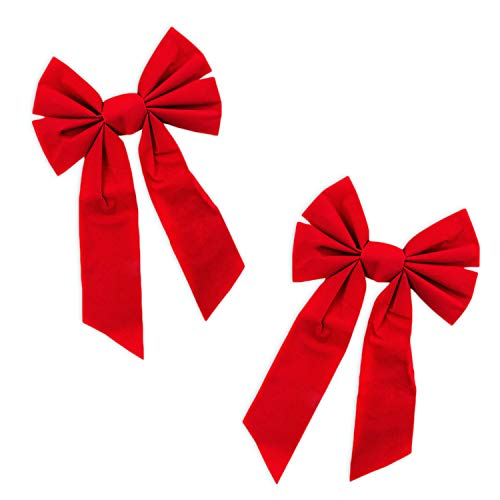 (Red Velvet 6 Loop Bow for Wreath Decorations, Gifts & Presents Wrapping, Hanging Door Decor with Wire, Christmas Tree, Party Supply (8