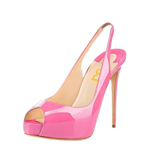FSJ Women Peep Toe Extreme High Heels Platform Sandals Slingback Stiletto Prom Dress Pumps Size 13 Hot Pink