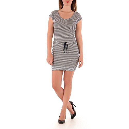 La Modeuse-vestido corto de tela, diseño de rayas Azul