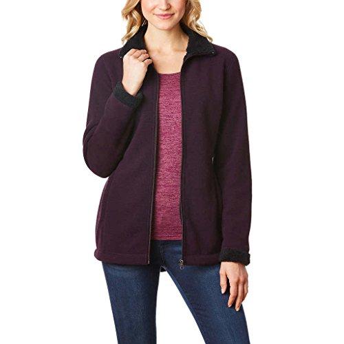 32 Degrees Heat Women's Sherpa Lined Fleece Jacket (Medium, Wine) - Sherpa Fleece Wine
