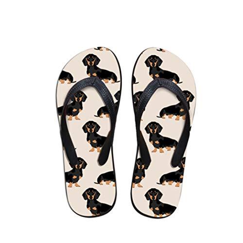 (AERICKON Women Casual Dog Print Flip Flop Flat Round Toe EVA Outsole Soft Cushion Footbed Summer Beach Slides)