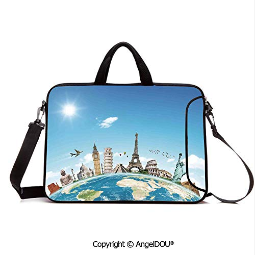 AngelDOU Customized Neoprene Printed Laptop Bag Notebook Handbag Famous Monuments of Pisa Taj Mahal Giza Pyramids Paris Landmarks Theme Compatible with mac air mi pro/Lenovo/asus/acer Light Blue