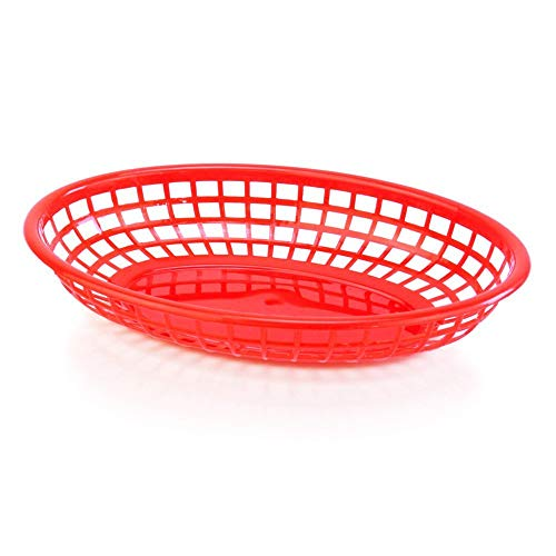 New Star Foodservice 44164 Fast Food Baskets, 9.25 x 6 inch Oval, Set of 12, Red