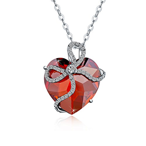 (Voila Reve Sterling Silver Necklace Forever Love Heart Pendant Made with Swarovski Crystals (Ruby))