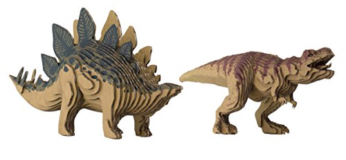 3D Dinosaur DIY Bundle Kit Make Stegosaurus & Tyrannosaurus Eco-Friendly Models Bundle
