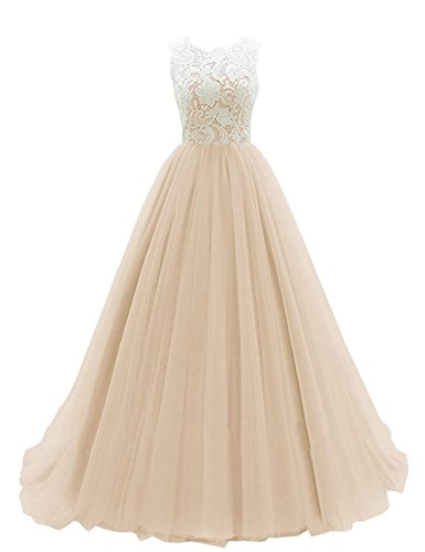 [Yougao Women's Lace Long Evening Gowns Party Dresses Tulle Prom Homcoming Dress US 18W Champagne] (Plus Size Formal Dresses)