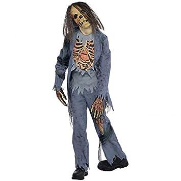 Zombie Gr. 164 162 Skelett Halloween Kostüm Kinder Halloweenkostüm ...