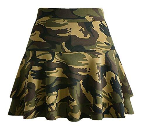 Afibi Casual Mini Stretch Waist Flared Plain Pleated Skater Skirt (Small, Green Camo)