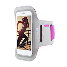 Gear Beast Sports Armband Case For Apple iPhone X, 6 6s SE Samsung Galaxy S7 S6 S6 Edge. Cell Phone Holder For Running Jogging Workout Fitness And Exercise. Waterproof Reflective Band With Key Pocket
