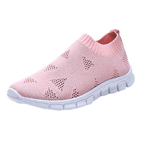 WENSY Weaving Single Shoes Casual Women's Outdoor Woven Mesh Lace-Up Sneakers Running Breathable Soft Bottom Sandals(Pink,41)