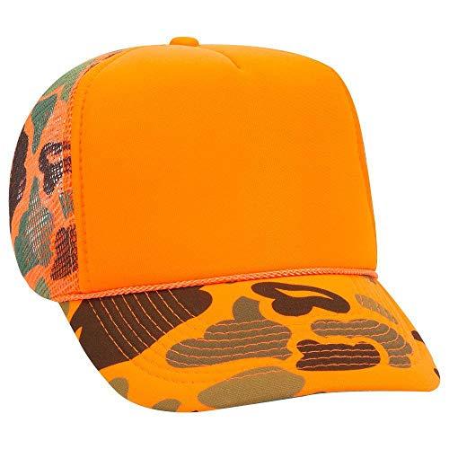 OTTO Neon Camouflage Foam Front 5 Panel High Crown Mesh Back Trucker Hat - N. Orange