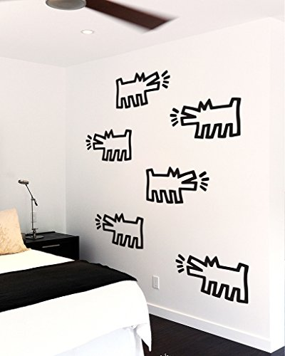 Keith Haring Barking Dogs, Black Line Art, Officially Licensed, 22