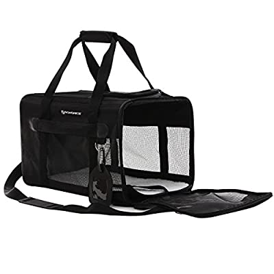 SONGMICS Soft Sided Pet Carrier Dog Travel Carrier with Removable Fleece Bed Black UPPC51H by Songmics