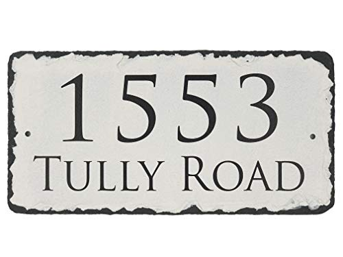 (Sassy Squirrel Beautifully Handcrafted and Customizable Slate Home Address Plaque Personalized House Sign with and mounting Hardware. Improve The Curb Appeal of Your Property (12