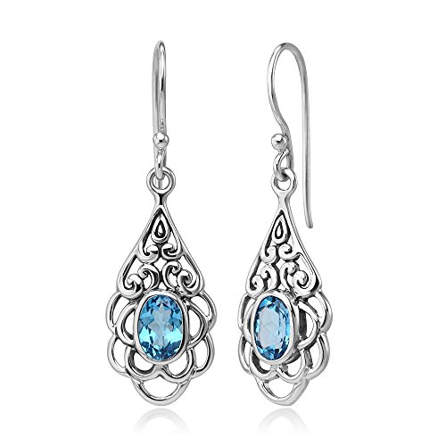 (925 Sterling Silver Open Filigree Flower Blue Topaz Gemstone Teardrop Dangle Hook Earrings 1.5