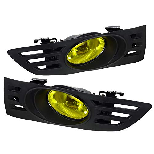 Carpartsinnovate For 03-05 Honda Accord 2Dr Coupe Yellow Fog Lights Driving Lamps Set w/Switch