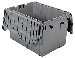 Akro Mils 39120 Plastic Storage And Distribution Container Tote With Hinged  Lid, 21.5 Inch L By 15 Inch W By 12.5 Inch H, Grey, Case Of 6