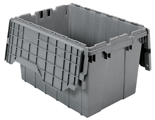 Akro-Mils 39120 Plastic Storage and Distribution Container Tote with Hinged Lid, 21.5-Inch L by 15-Inch W by 12.5-Inch H, Grey, Case of 6 by Akro-Mils