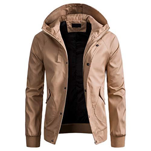 2019 Men Hooded Pocket Coat,Boys Spring Winter Solid Color Jacket Zipper Button Top Blouse (M, Khaki)