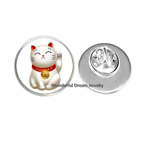 Silver Maneki Neko Lucky Cat Brooch,Pewter Maneki Neko Charm Brooch,Welcoming Cat Brooch, Chinese Lucky Cat Brooch,PU011 ()