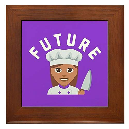 CafePress Future Chef Framed Tile, Decorative Tile Wall Hanging